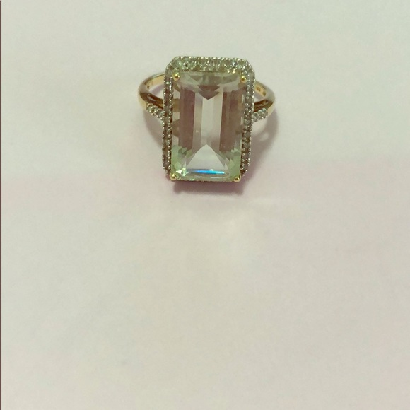 Zales Jewelry Green Quartz Cocktail Ring With Diamonds Poshmark